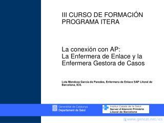 III CURSO DE FORMACIÓN PROGRAMA ITERA