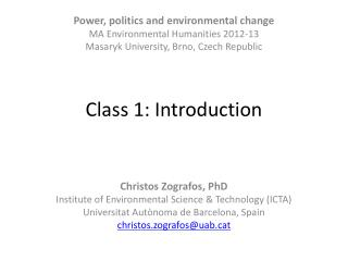 Class 1: Introduction