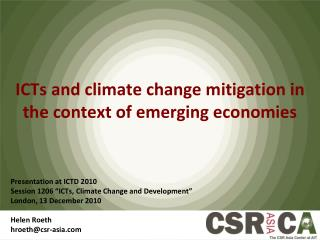ICTs and climate change mitigation in the context of emerging economies