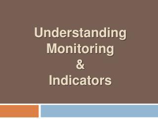 Understanding Monitoring  &  Indicators