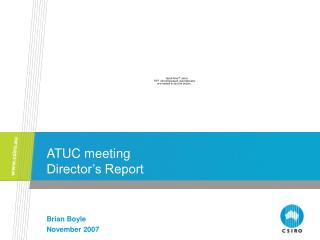 ATUC meeting Director's Report
