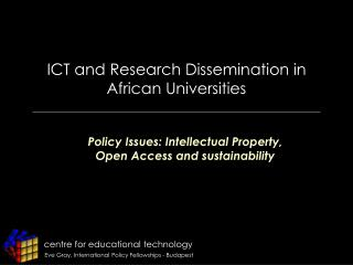 ICT and Research Dissemination in African Universities
