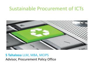 Sustainable Procurement of ICTs