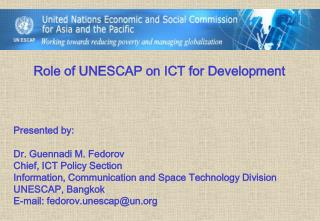 Role of UNESCAP on ICT for Development