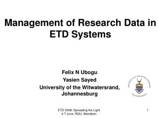 Management of Research Data in ETD Systems