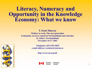 Literacy, Numeracy and Opportunity in the Knowledge Economy: What we know