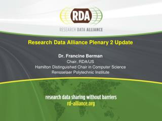 RDA Plenary 2 -- September 16-18, Washington D.C.  --   3 days of Peace, Love and Data