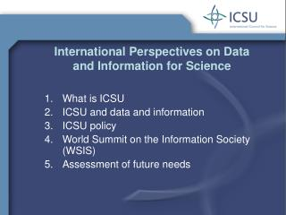 International Perspectives on Data and Information for Science