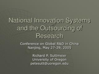 National Innovation Systems and the Outsourcing of Research