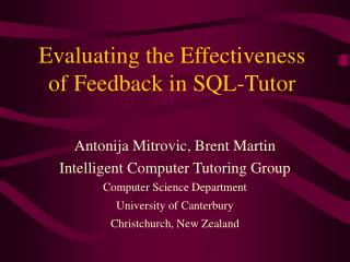 Evaluating the Effectiveness of Feedback in SQL-Tutor