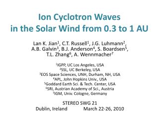 Ion Cyclotron Waves  in the Solar Wind from 0.3 to 1 AU