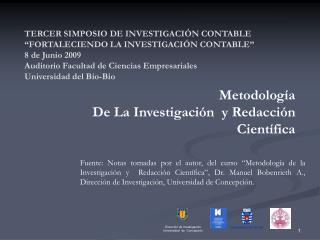 Metodología  De La Investigación  y Redacción  Científica