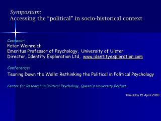 """Symposium: Accessing the """"political"""" in socio-historical context"""