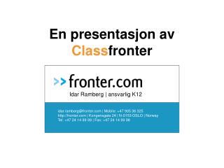 En presentasjon av  Class fronter