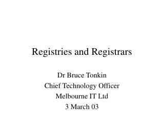 Registries and Registrars