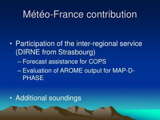 Météo-France contribution