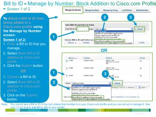 Bill to ID - Manage by Number: Block Addition to Cisco Profile -  Screen 1 of 2