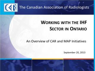 Working with the IHF  Sector in Ontario
