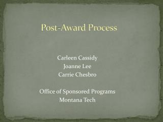 Post-Award Process