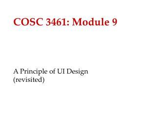 COSC 3461: Module 9