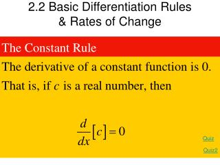 2.2 Basic Differentiation Rules  Rates of Change
