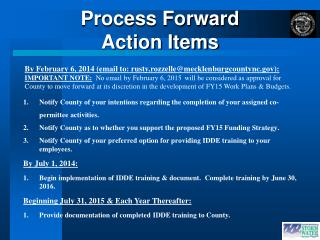 Process Forward Action Items
