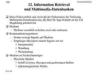 12. Information Retrieval  und Multimedia-Datenbanken