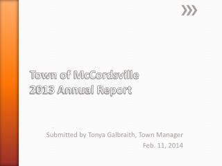 Town of McCordsville 2013 Annual Report