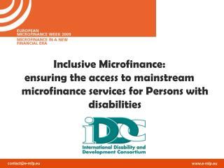 Inclusive Microfinance: