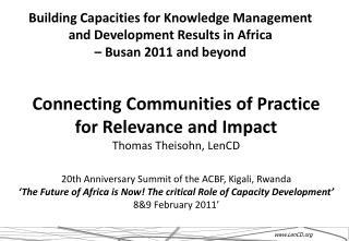 20th Anniversary Summit of the ACBF, Kigali, Rwanda