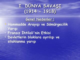 I. DÜNYA SAVAŞI  (1914 - 1918)