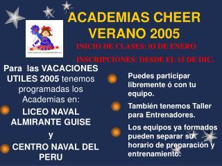 ACADEMIAS CHEER VERANO 2005