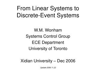 From Linear Systems to  Discrete-Event Systems