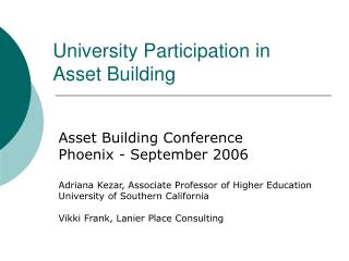 University Participation in Asset Building