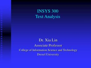 INSYS 300 Text Analysis
