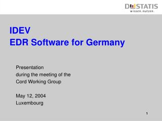 IDEV EDR Software for Germany