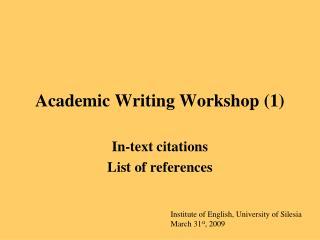 Academic Writing Workshop (1)
