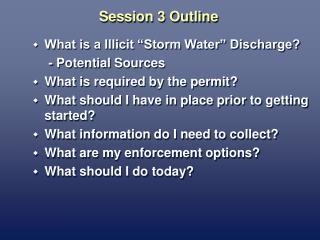 Session 3 Outline
