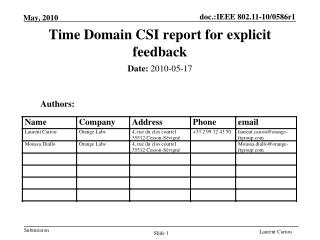 Time Domain CSI report for explicit feedback
