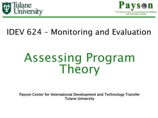 IDEV 624 – Monitoring and Evaluation