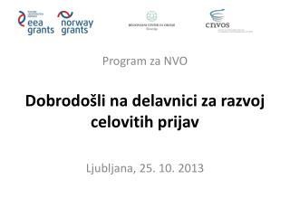 Program za NVO Dobrodošli na delavnici za razvoj celovitih prijav