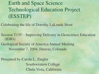 Earth and Space Science Technological Education Project (ESSTEP)