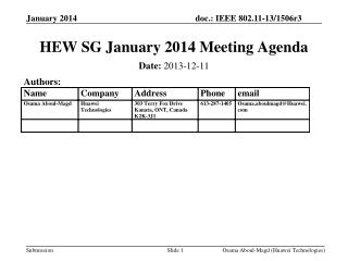 HEW SG January 2014 Meeting Agenda