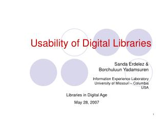 Usability of Digital Libraries