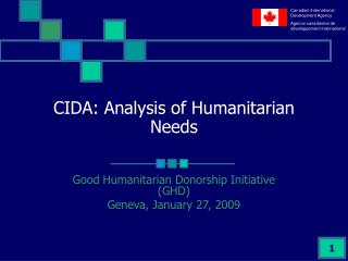 CIDA: Analysis of Humanitarian Needs