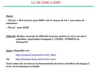 Les BE ISME et IDIM