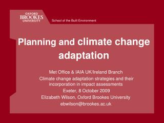Planning and climate change  adaptation