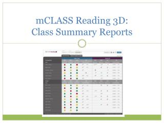 mCLASS  Reading 3D:  Class Summary Reports