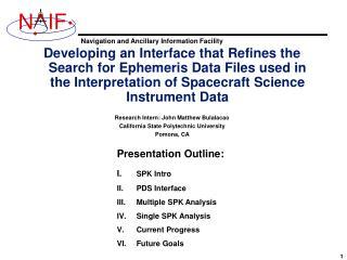 Presentation Outline:  I. SPK Intro II.PDS Interface Multiple SPK Analysis Single SPK Analysis