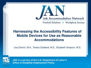 Harnessing the Accessibility Features of Mobile Devices for Use as Reasonable Accommodations